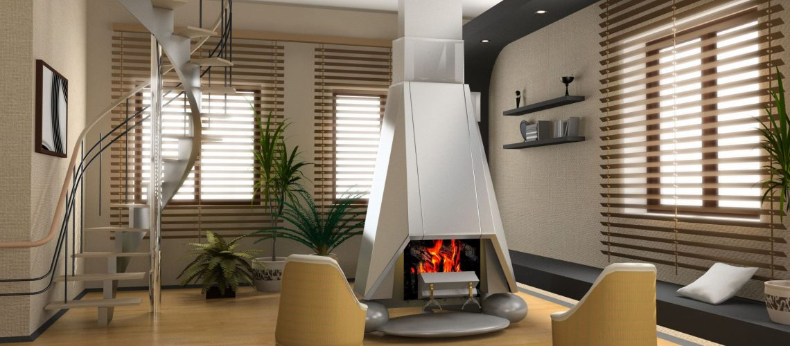 3273582 - the modern interior design with fireplace (3d)